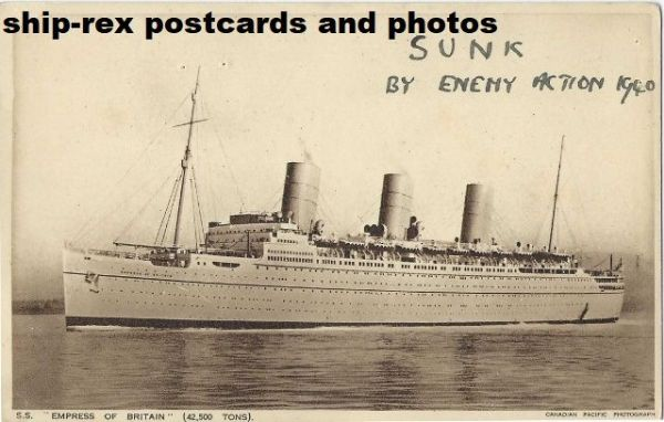 EMPRESS OF BRITAIN (1931, Canadian Pacific) postcard (c)